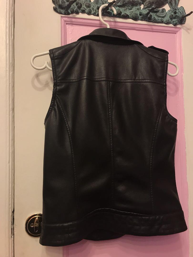 M boutique faux leather sleeveless jacket
