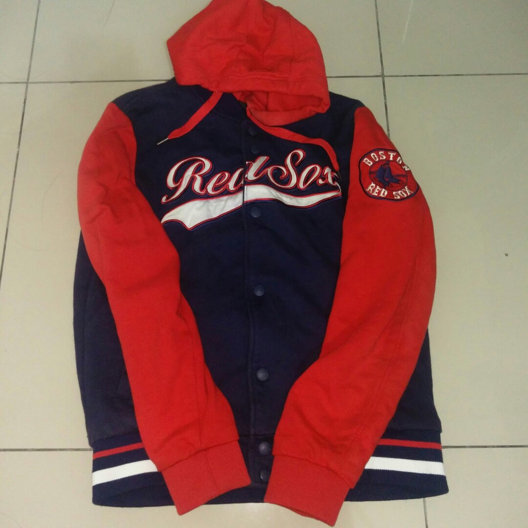 MLB RED SOX hoodie varsity jacket, Men's Fashion, Clothes, Outerwear on Carousell