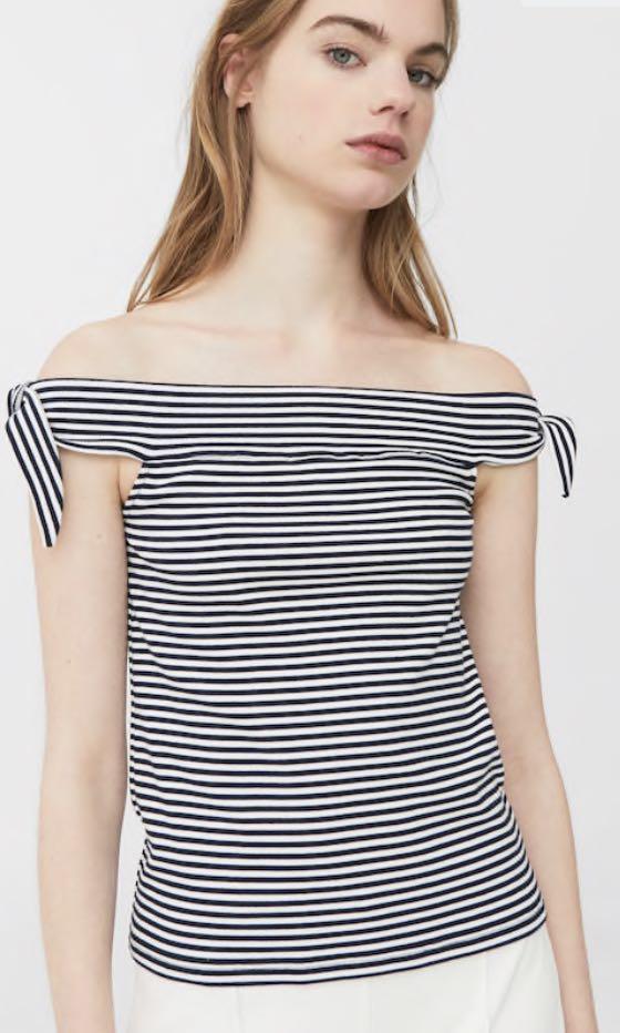 7cd9a515aa48a MNG Mango Stripe Off Shoulder Top