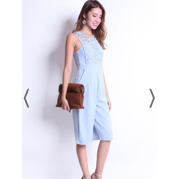 f1d087db2bf Neonmello CASSIO CROCHET PANELLING PLAYSUIT JUMPSUIT IN POWDER BLUE ...