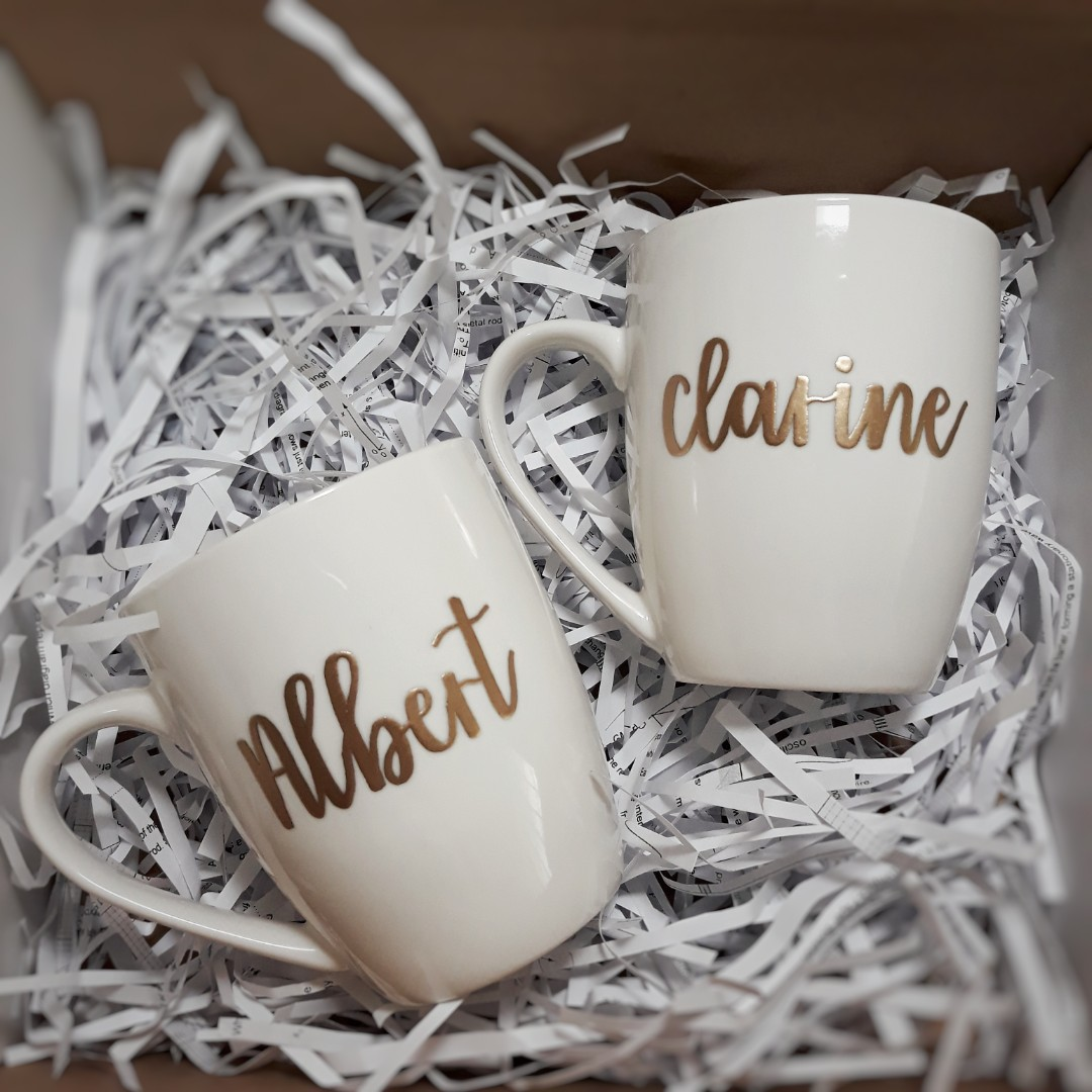 Personalised Cups Customised Mugs Cup Mug Personalized Customized Wedding Gift Birthday Present Anniversary Couple Calligraphy Embossed Emboss Farewell
