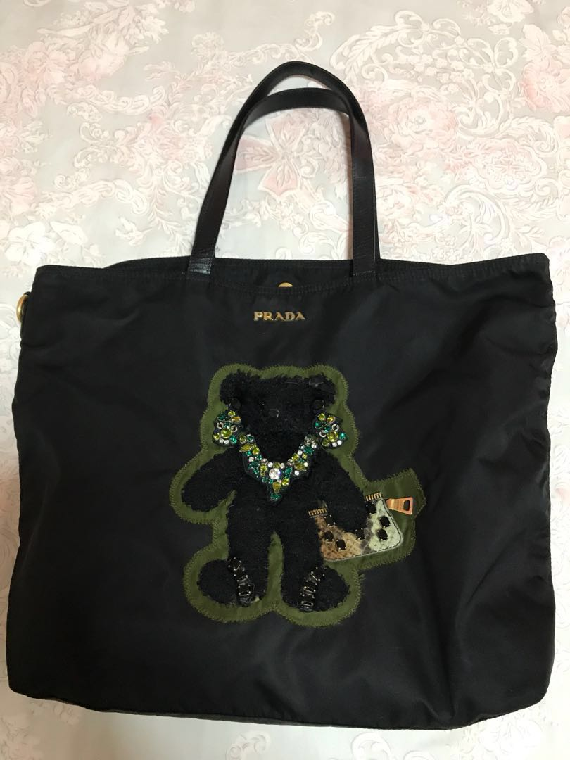 eaa83b32f77b Prada Limited Edition Embellished Teddy Bear Nylon Bag, Luxury, Bags &  Wallets on Carousell