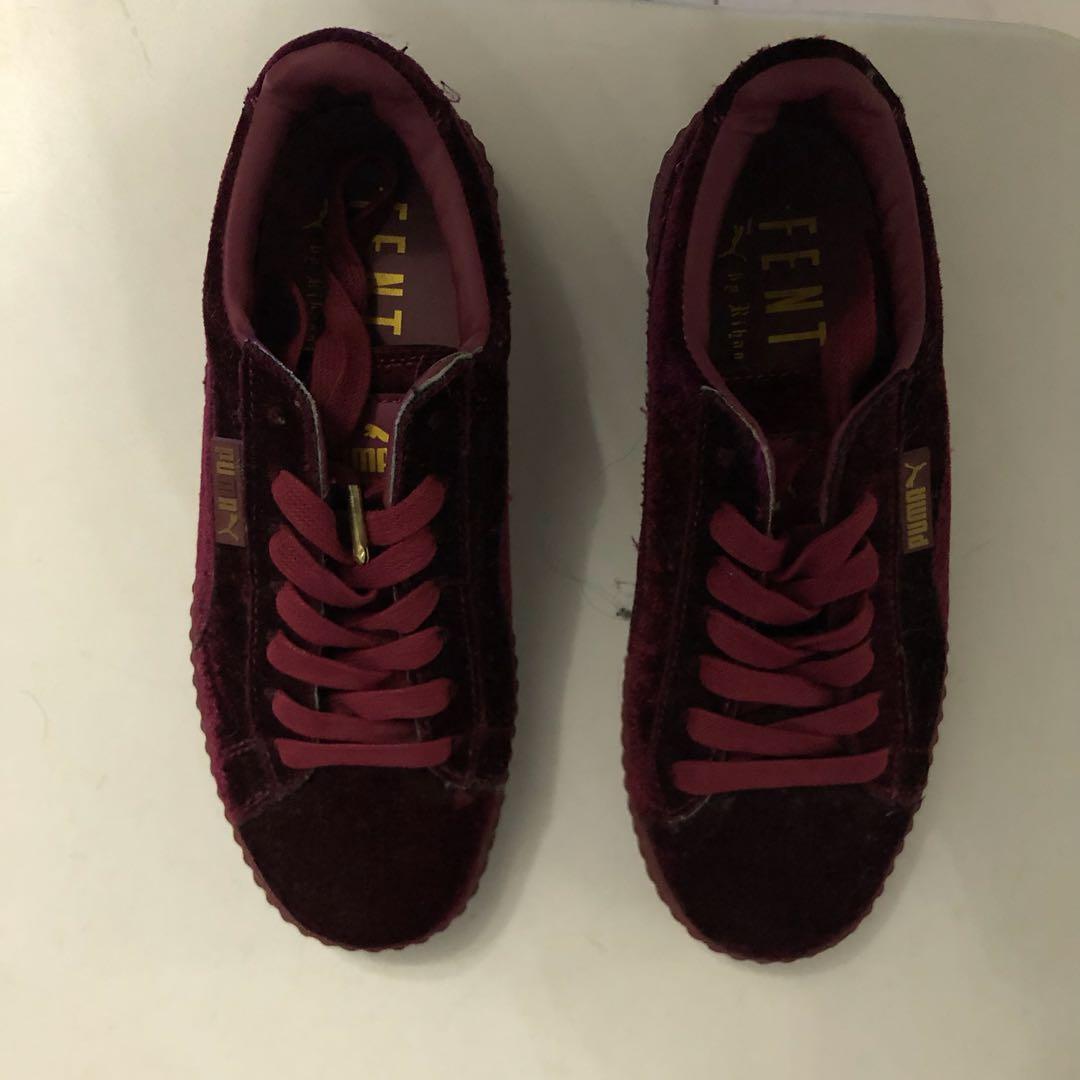 Puma Fenty Women's Creepers Velvet Purple Burgundy Shoes