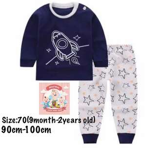 Ready stock! Rocket kids pajamas set, baju tidur (size70)