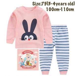 Ready stock! Pink bunny kids pajamas set, baju tidur (size75)