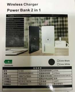 Wireless Charger Power Bank 2 in 1 20000 mAh DC5V 2.1A/1A