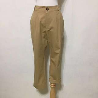 🚚 📢全新,韓製,超好搭,大地色系腰鬆緊卡其小寬褲,九分褲