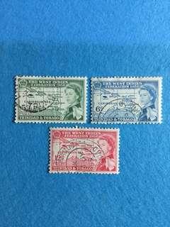 1958 Trinidad & Tobago British Caribbean Federation 3V Used Complete Set