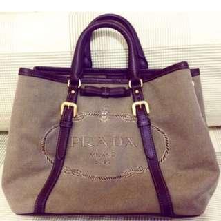 Original Prada Bag (Pre-owned) 2 way totebag / shoulder Brown Jacquard Canvas