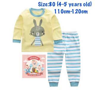Ready stock! Yellow bunny kids pajamas set, baju tidur (size80)