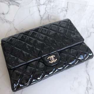 Chanel Black Patent Clutch with Chain