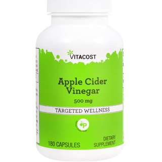 Vitacost Apple Cider Vinegar -- 500 mg - 180 Capsules (6months servings) Made In America. Easier to take than Liquid ACV, cheaper too. Capsules avoid damaged teeth.