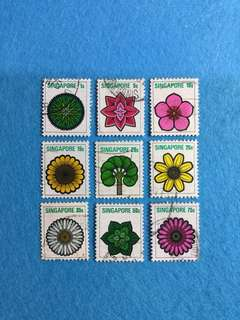 1973 Singapore Flowers Definitive Set 9 Values Used