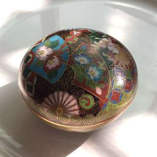 日式紋飾掐絲琺瑯小碗蓋 盒子