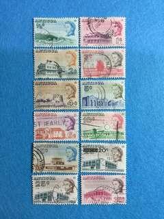 1966 Antigua QE2 Definitives 12 Values Used Short Set