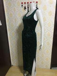 Emerald Green Velvet Gown