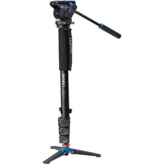 Benro A48FDS4 Series 4 Aluminum Monopod with 3-Leg Locking Base and S4 Video Head - 1 Year Warranty