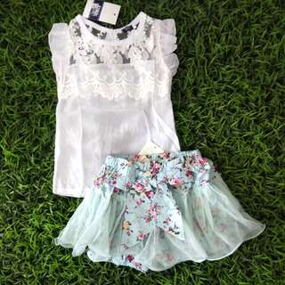 Girl set Lace top + Floral Tutu