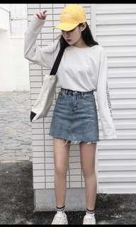 BNIB Denim Jeans Hem Skirt