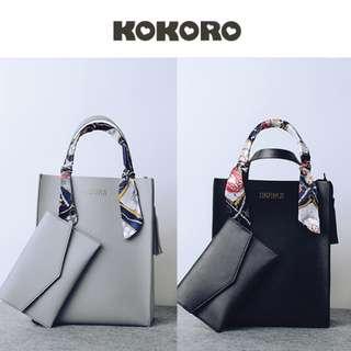 【KOKORO】INS爆款日系長方形直立絲巾手提子母包簡約設計流蘇吊飾肩背兩用可放A4大容量