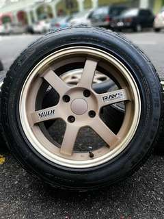 Te37 16 inch sports rim perdana tyre 70%. *mora mora kasi you feeling happy*