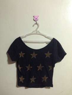 Star printed cropped top