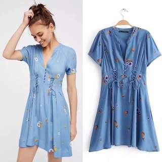 Vintage Print A Short Sleeve Dress