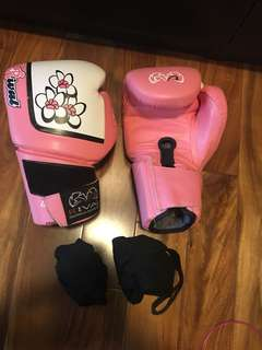 Women's boxing gloves with wraps