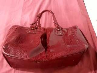 Authentic Elizabeth Arden Red Crocodile Faux Tote Bag With Leopard Print Liner Women