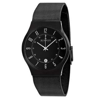 BLACK DIAL TITANIUM STAINLESS STEEL MESH MEN'S WATCH 233XLTMB