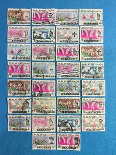 1965 Orchid State Definitives 30 Different Values Used