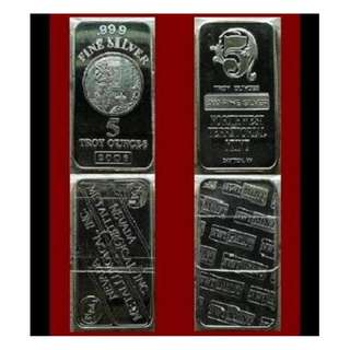 ♦ Select [✔] USA. NMI or NWTM - Classic Vintage. 1x 5 Troy Oz. 999 Fine Silver bar