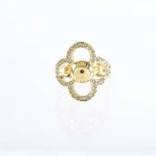 AUTHENTIC LOUIS VUITTON (LV) GOLD COLOR PLATED CRYSTAL FLOWER RING  - SIZE Size 6 & 1/2