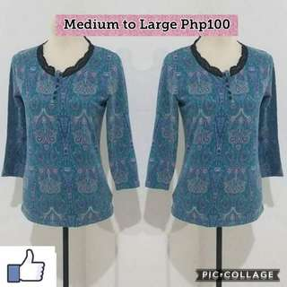 Blouse Floral blue 3/4 sleeves
