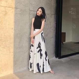 Black & white Ink patterned A line skirt