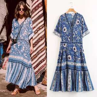 Women's retro print dress