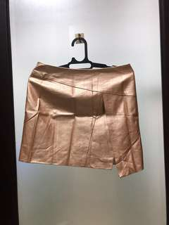 Rose gold leather skirt