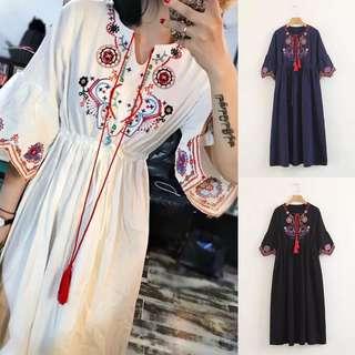 Women's National Wind Vintage Embroidered Tassel Dress