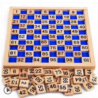 🚚 New * Free delivery * Wooden math board 1-100