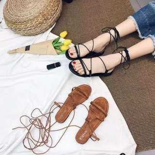 夏日休閒☀百搭簡約氣質波西米亞風交叉繫帶平底涼鞋 羅馬涼鞋