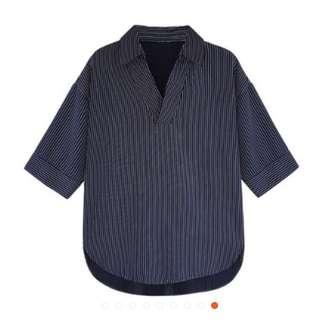 🚚 全新* 條紋V領襯衫 藍