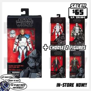 Star War The Black Series 6-inch Figure: #59 Clone Captain Rex + 2 Figures