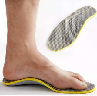 Footful Men's Silver Gridding Arch Support Insoles flat feet