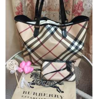 Preloved Authentic BURBERRY POUCH TOTE BAG