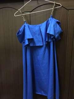 🚚 細肩荷花邊藍色洋裝