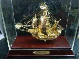 Santa Maria 西班牙哥倫布 包金古船擺設