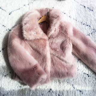 Asos dusty rose fur coat