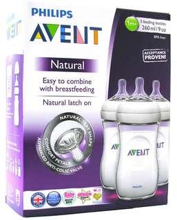 🇬🇧英國大熱品牌 PHILIPS AVENT Avent natural bottle 260ml 3 pack