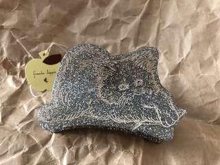 日本製 Franche lippee 貓咪銀色閃閃髮夾 頭飾