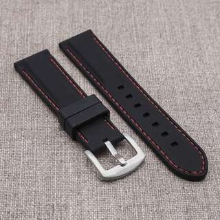 [20/22mm] BLACK with RED STITCH SILICONE STRAPOSTITCH STRAP